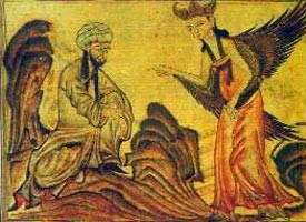 Persian miniature, Gabriel speaking to Mohammed