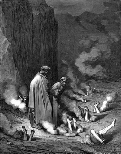 Dante's Interview with Pope Nicholas III in Hell, Gustave Dore