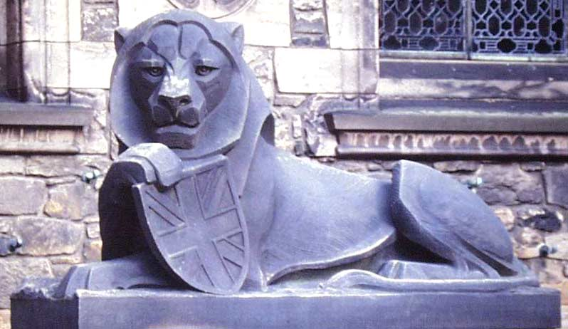 Lion at the Scottish War Memorial, by sculptor Phyllis Bone