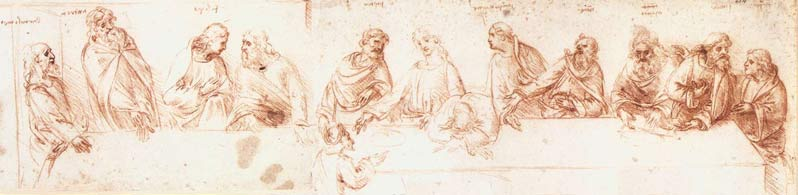 Sketch, Last Supper, Leonardo Da Vinci